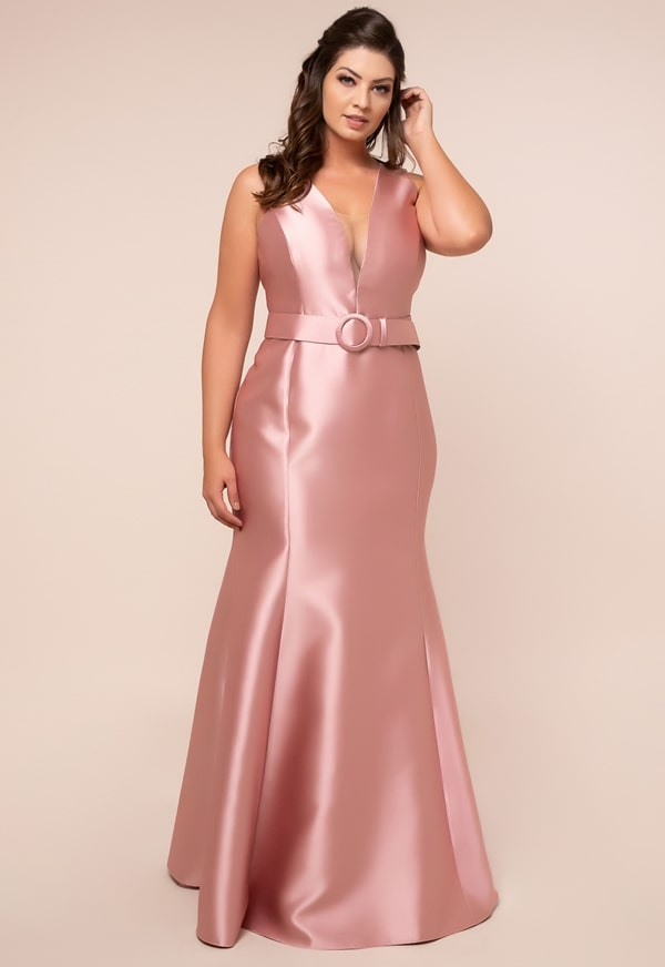 long plus size pink party dress