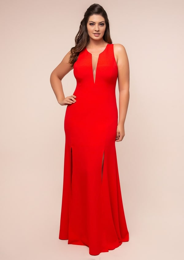 long plus size red party dress