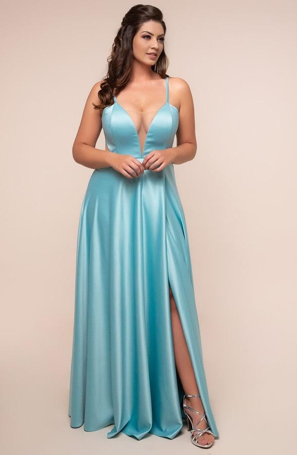 tiffany blue plus size long party dress