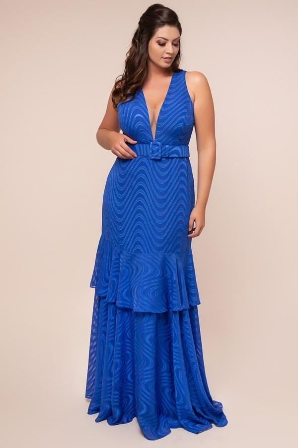 long blue plus size party dress bic