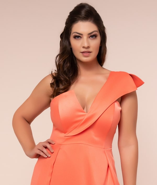 long plus size coral party dress for bridesmaid