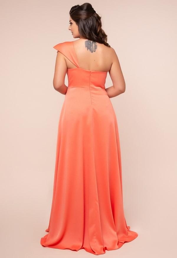 long plus size coral party dress