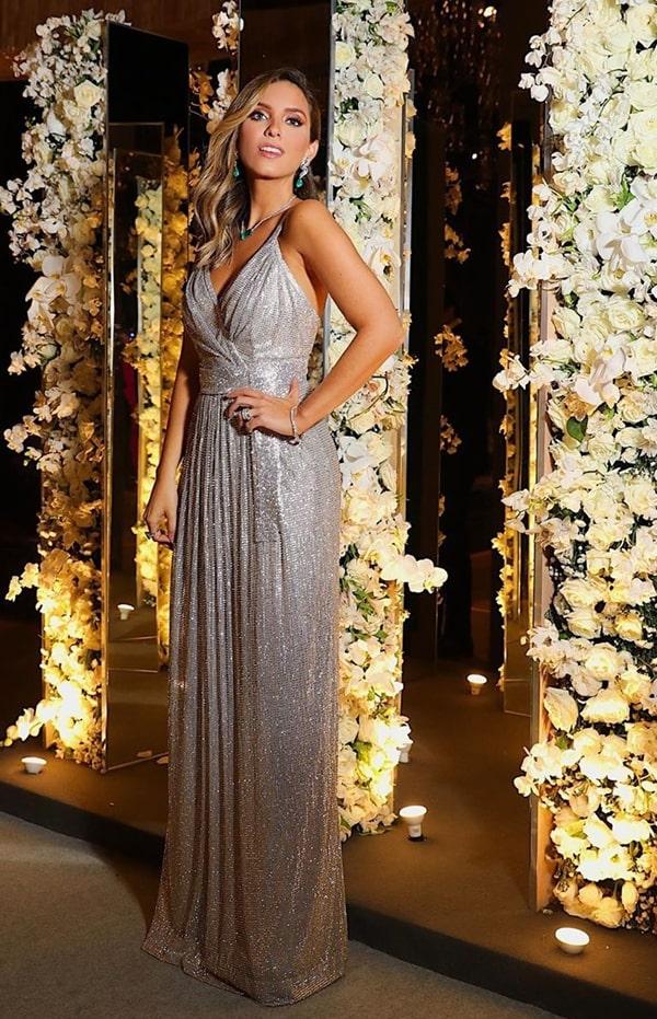 Lele Saddi long silver party dress Dolce Gabbana at Thassia Naves' wedding