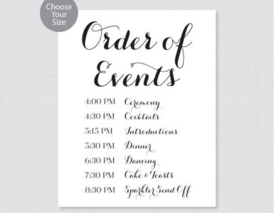 What is the order of events at wedding reception?